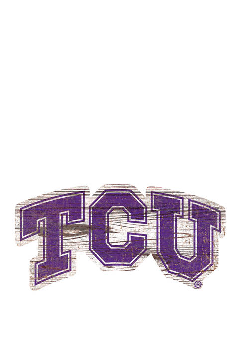 NCAA TCU  Horned Frogs Distressed Logo Cutout Sign