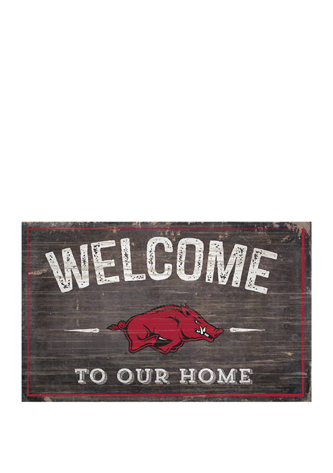 NCAA University of Arkansas Razorbacks 11 in x 19 in Welcome to Our Home Sign