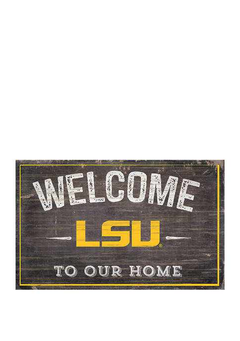 NCAA LSU Tigers 11 in x 19 in Welcome To Our Home Sign