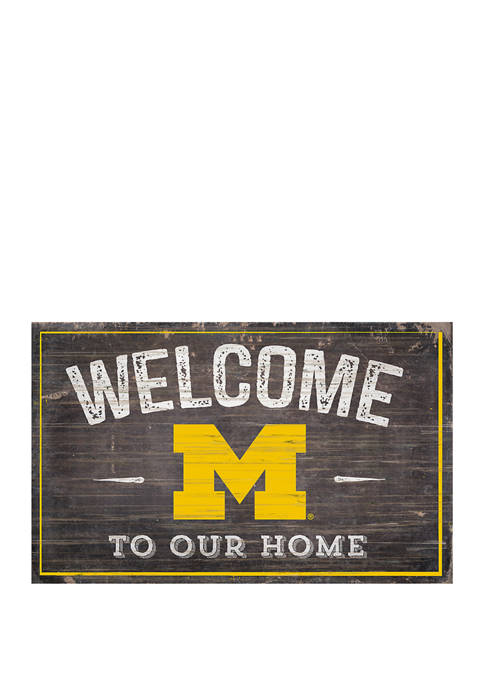 NCAA University of Michigan Wolverines 11 in x 19 in Welcome To Our Home Sign