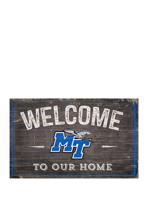NCAA Middle Tennessee State Blue Raiders 11 in x 19 in Welcome To Our Home Sign