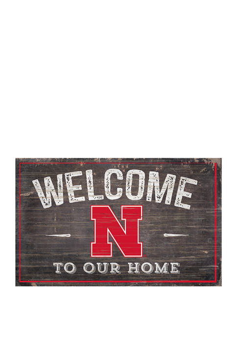 NCAA University of Nebraska Cornhuskers 11 in x 19 in Welcome To Our Home Sign