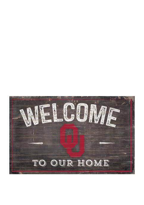 NCAA University of Oklahoma Sooners 11 in x 19 in Welcome to Our Home Sign