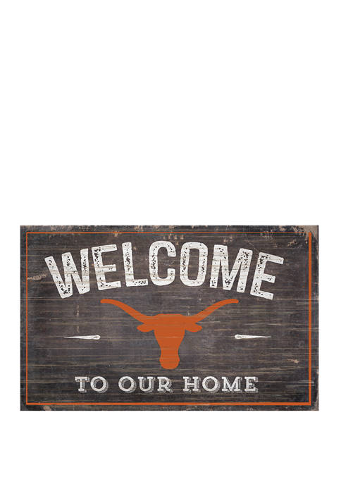 NCAA University of Texas Longhorns 11 in x 19 in Welcome to Our Home Sign