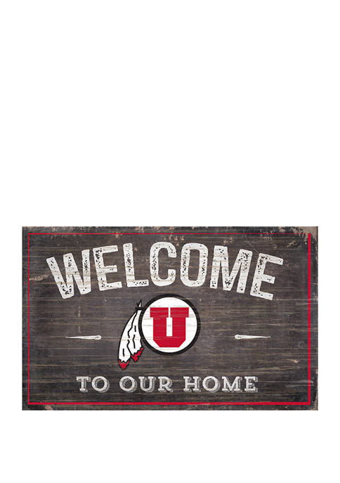 NCAA University of Utah Utes 11 in x 19 in Welcome to Our Home Sign