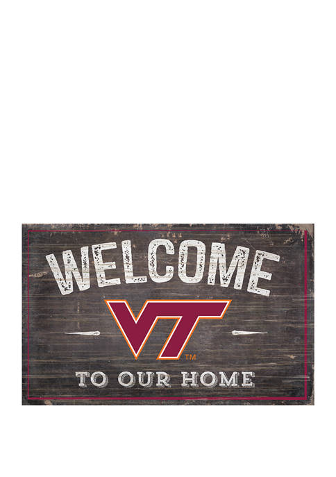 NCAA Virginia Tech University Hokies 11 in x 19 in Welcome to Our Home Sign