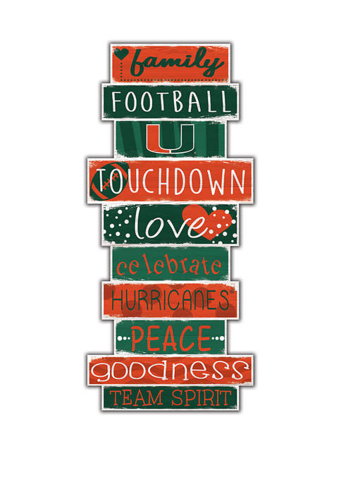 NCAA University of Miami Hurricanes Celebrations Stack 24 Inch Sign