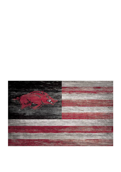 NCAA University of Arkansas Razorbacks 11 in x 19 in Distressed Flag