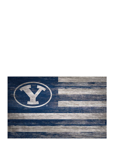 NCAA BYU Cougars 11 in x 19 in Distressed Flag