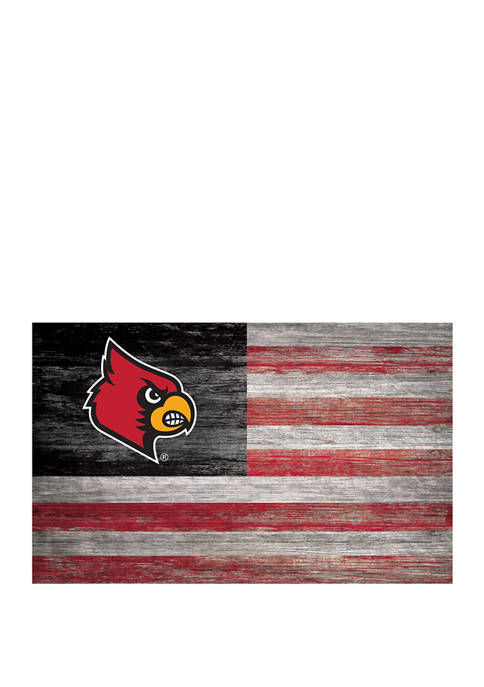 NCAA Louisville Cardinals 11 in x 19 in Distressed Flag
