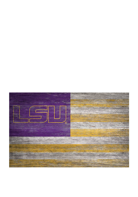 NCAA LSU Tigers 11 in x 19 in Distressed Flag