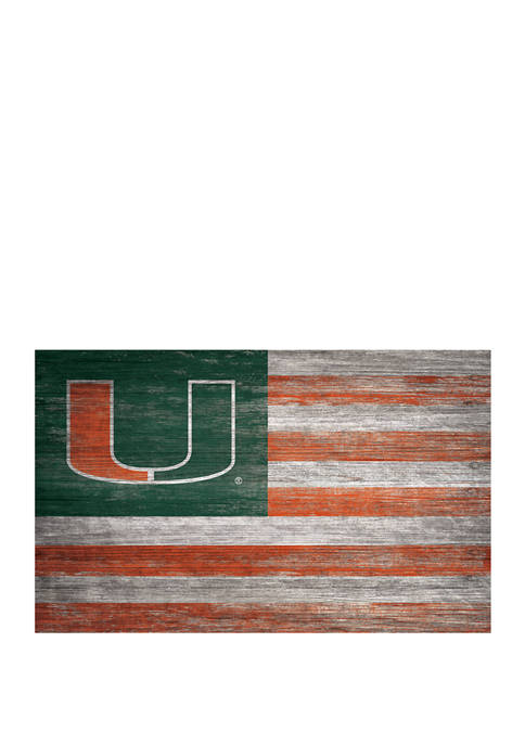 NCAA University of Miami Hurricanes 11 in x 19 in  Distressed Flag
