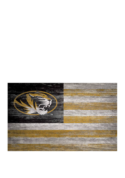 NCAA Missouri Tigers 11 in x 19 in Distressed Flag