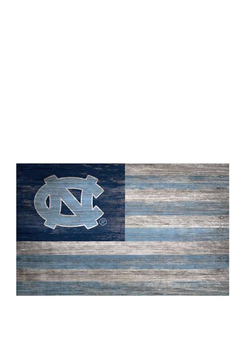 NCAA University of North Carolina Tarheels 11 in x 19 in  Distressed Flag