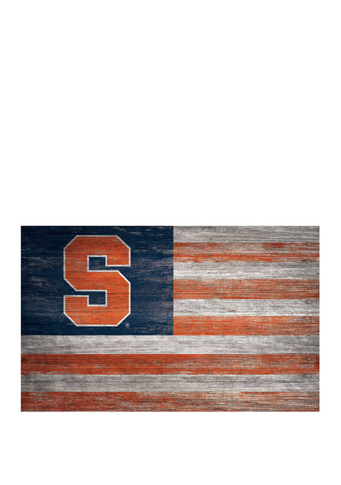 NCAA Syracuse Orange 11 in x 19 in Distressed Flag Sign