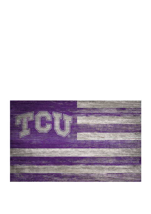 NCAA TCU Horned Frogs  11 in x 19 in Distressed Flag