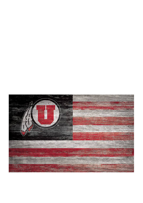 NCAA Utah Utes 11 in x 19 in Distressed Flag Sign