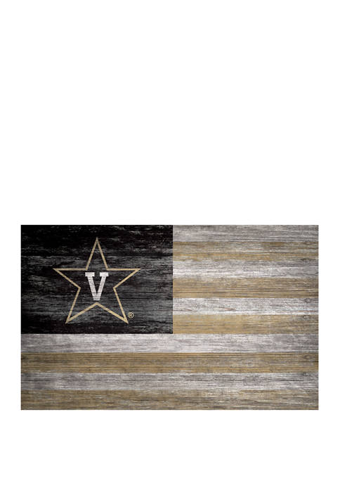 NCAA Vanderbilt Commodores 11 in x 19 in Distressed Flag Sign