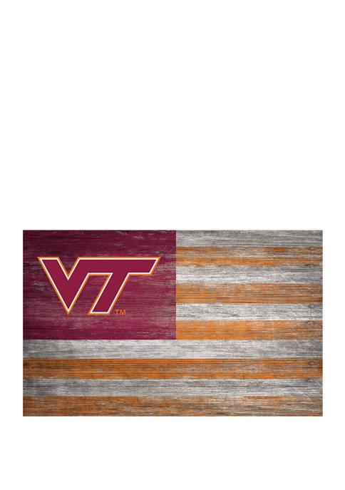 NCAA Virginia Tech Hokies 11 in x 19 in Distressed Flag Sign