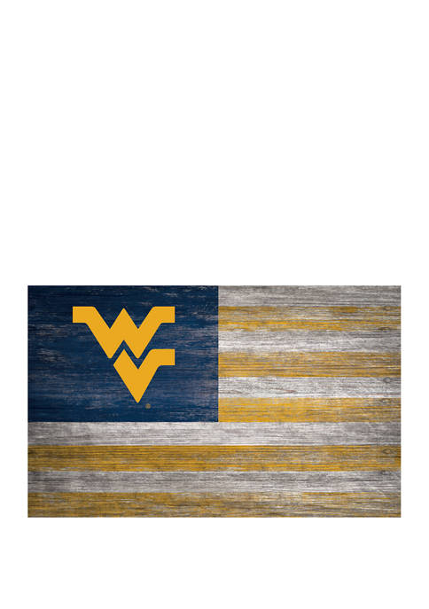 NCAA West Virginia Mountaineers 11 in x 19 in Distressed Flag Sign