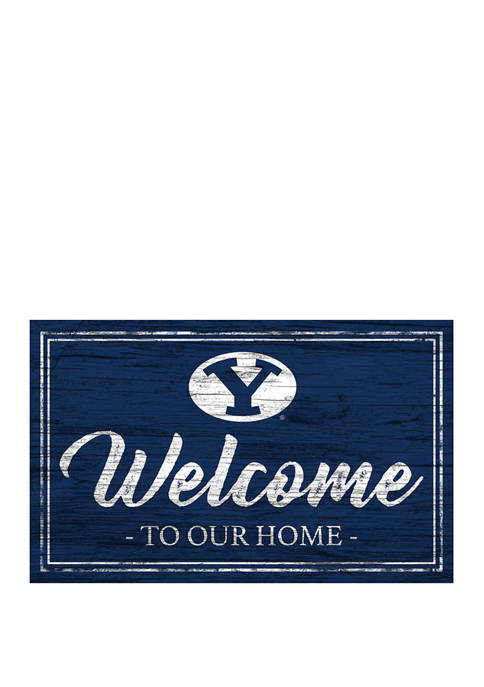 NCAA BYU Cougars 11 in x 19 in Team Color Welcome Sign