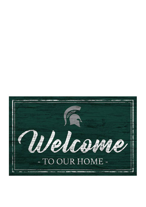 NCAA Michigan State Spartans 11 in x 19 in Team Color Welcome Sign
