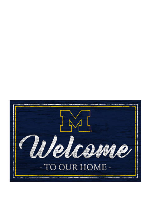 NCAA University of Michigan Wolverines  11 in x 19 in Team Color Welcome  Sign