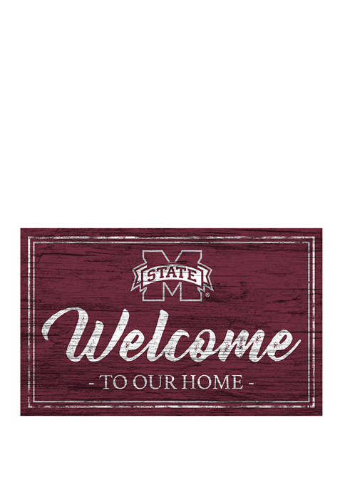 NCAA Mississippi State Bulldogs 11 in x 19 in Team Color Welcome Sign