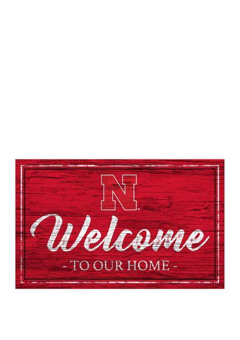 NCAA University of Nebraska Cornhuskers  11 in x 19 in Team Color Welcome  Sign