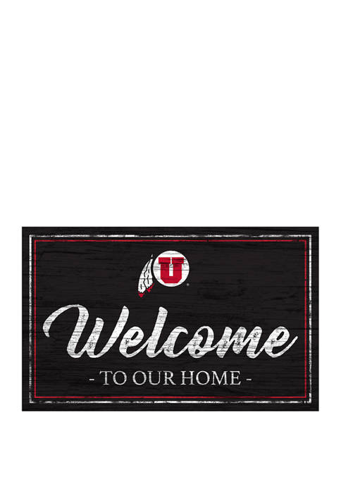 NCAA Utah Utes 11 in x 19 in Team Color Welcome  Sign