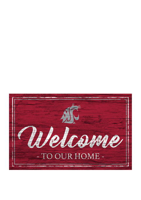 NCAA Washington State Cougars 11 in x 19 in Team Color Welcome Sign