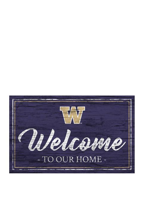NCAA Washington Huskies 11 in x 19 in Team Color Welcome Sign