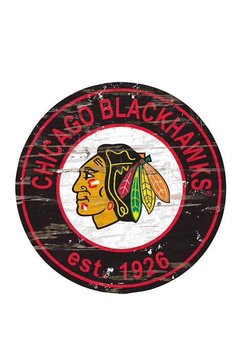 NHL Chicago Blackhawks Distressed Round Sign