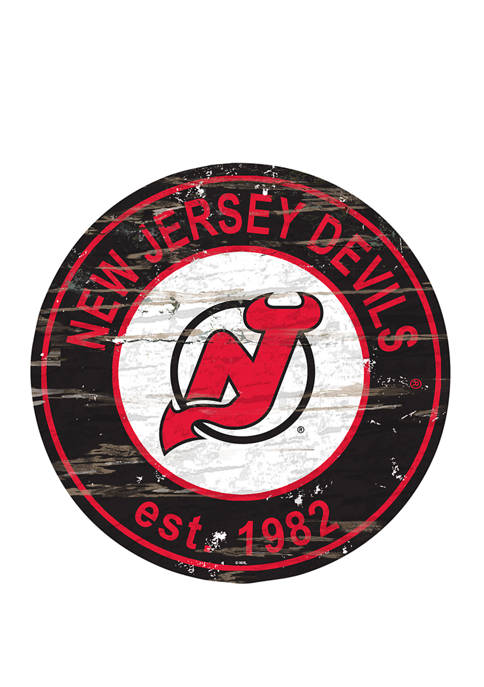Fan Creations NHL New Jersey Devils Distressed Round