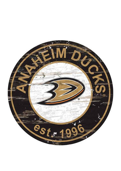 NHL Anaheim Ducks Distressed Round Sign