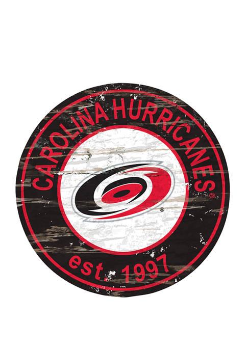 NHL Carolina Hurricanes Distressed Round Sign