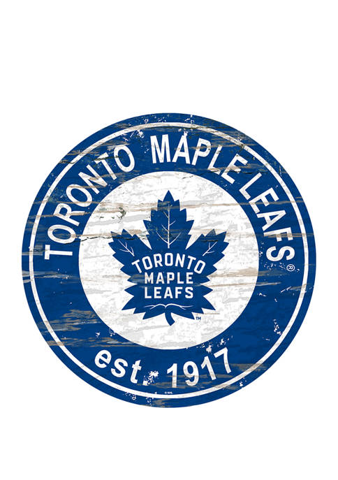 NHL Toronto Maple Leafs Distressed Round Sign