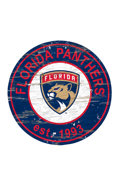 NHL Florida Panthers Distressed Round Sign