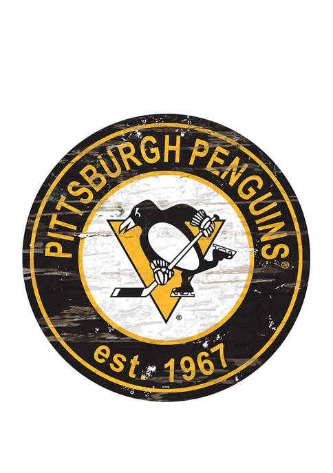 NHL Pittsburgh Penguins Distressed Round Sign