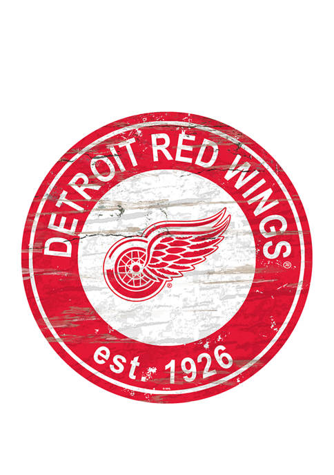 NHL Detroit Red Wings Distressed Round Sign