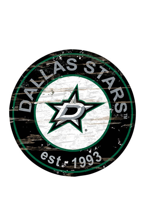 Fan Creations NHL Dallas Stars Distressed Round Sign