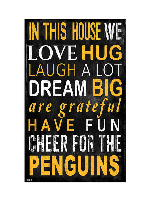 NHL Pittsburgh Penguins 11 in x 19 in In This House Sign