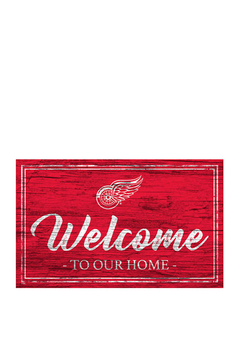 NHL Detroit Red Wings 11 in x 19 in Team Color Welcome Sign