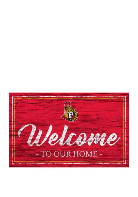 NHL Ottawa Senators 11 in x 19 in Team Color Welcome Sign