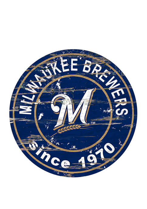 MLB Milwaukee Brewers 24 Inch Established Date Round Sign