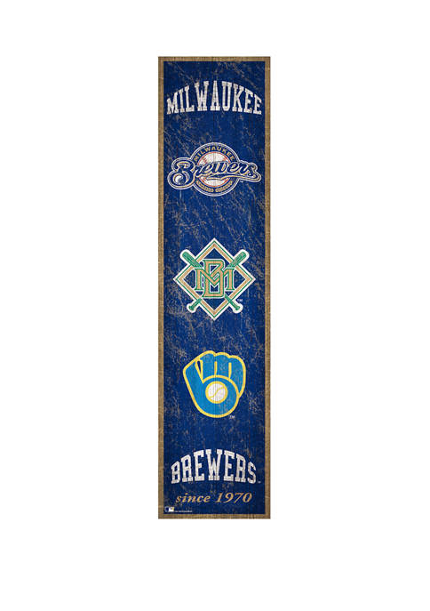 MLB Milwaukee Brewers 6 in x 24 in Heritage Banner Sign