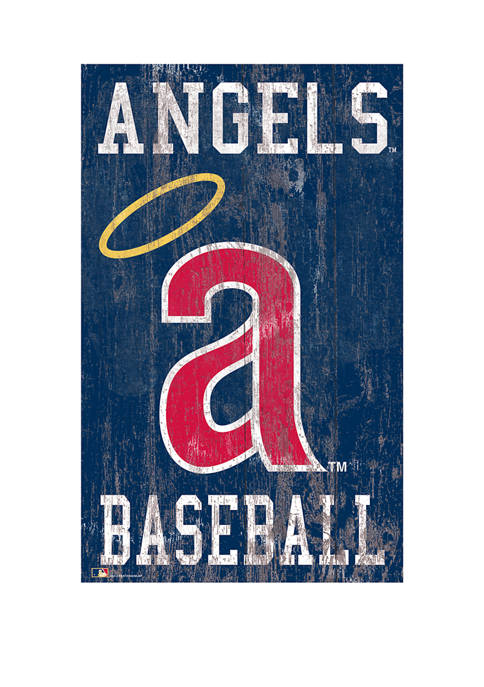 MLB Los Angeles Angels 11 in x 19 in Heritage Distressed Logo Sign