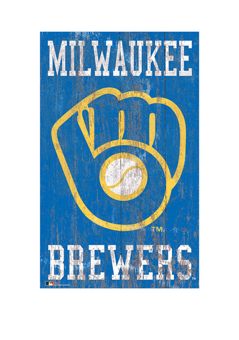 MLB Milwaukee Brewers 11 in x 19 in Heritage Distressed Logo Sign