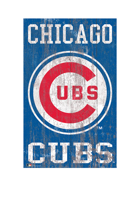 MLB Chicago Cubs  11 in x 19 in Heritage Distressed Logo Sign