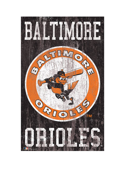MLB Baltimore Orioles 11 in x 19 in Heritage Distressed Logo Sign